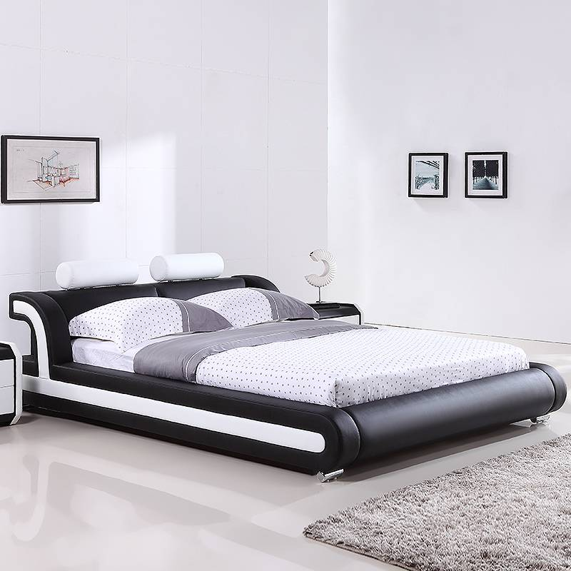 Luxurious Black Color modern kids leather bed G993#