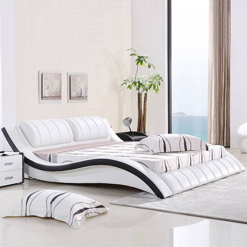 2017 Latest designs high quality leather bed frame G1021