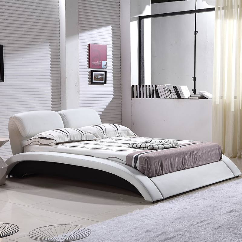 Leather Creative Bed Curved Personality Modern Bed G1022#