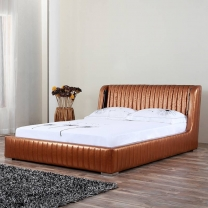 New fashion leather bed with bedside lamp G1306#
