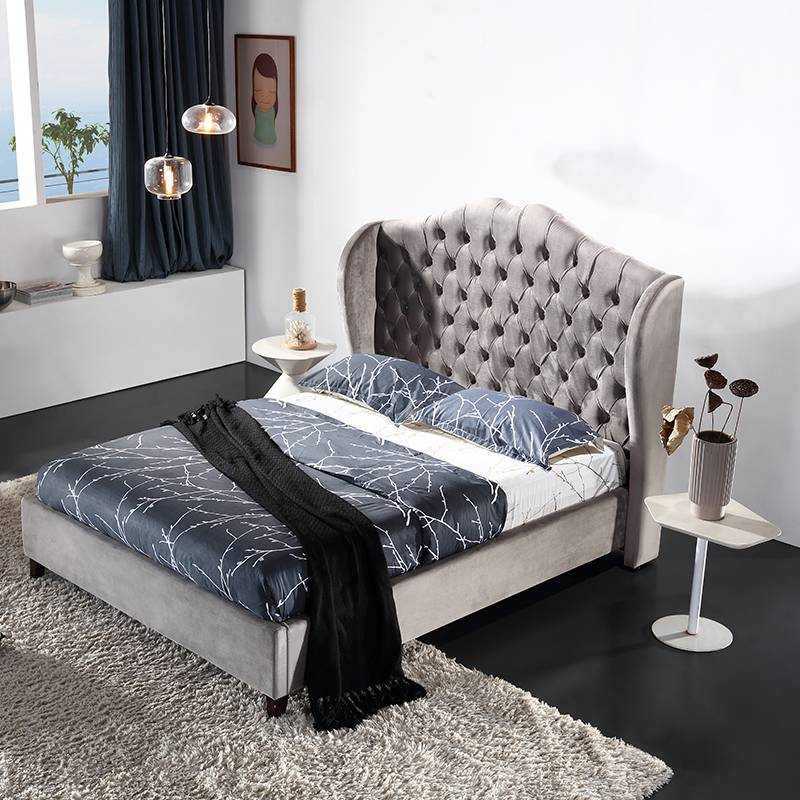 Hotel bedroom furniture king size wood double bed designs with box G1809#