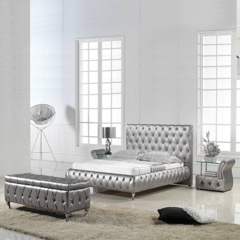 Classical luxury diamond button leather bed 2861B#